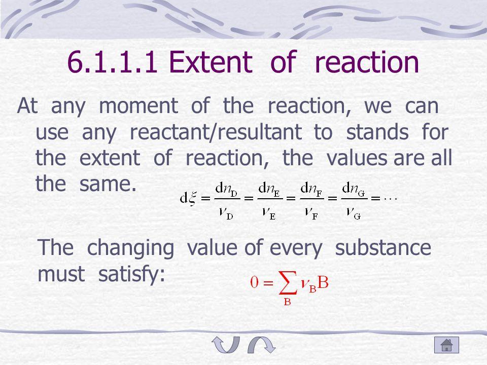 6.1.1 Chemical reaction system Dekonder defined extent of reaction ξ v B: negative for reactant; positive for resultant.