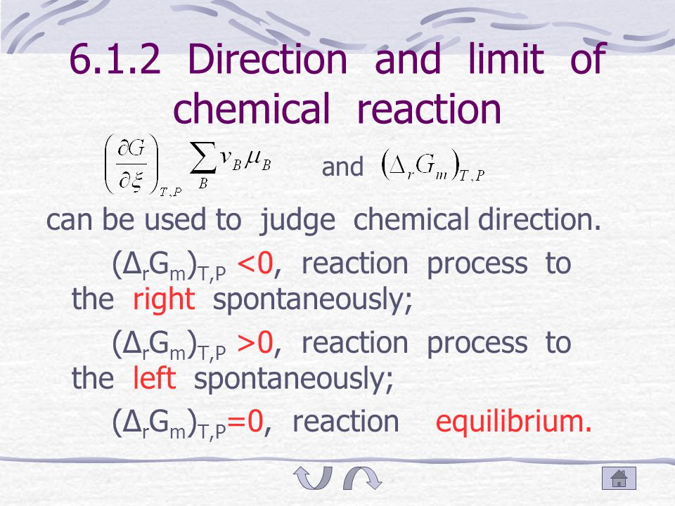 6.1.1.3 Conditions of equation (1) The chemical reaction of isothermal, isobaric and it do not export work; (2) Chemical potential μ B of every substances keep unchangeable.