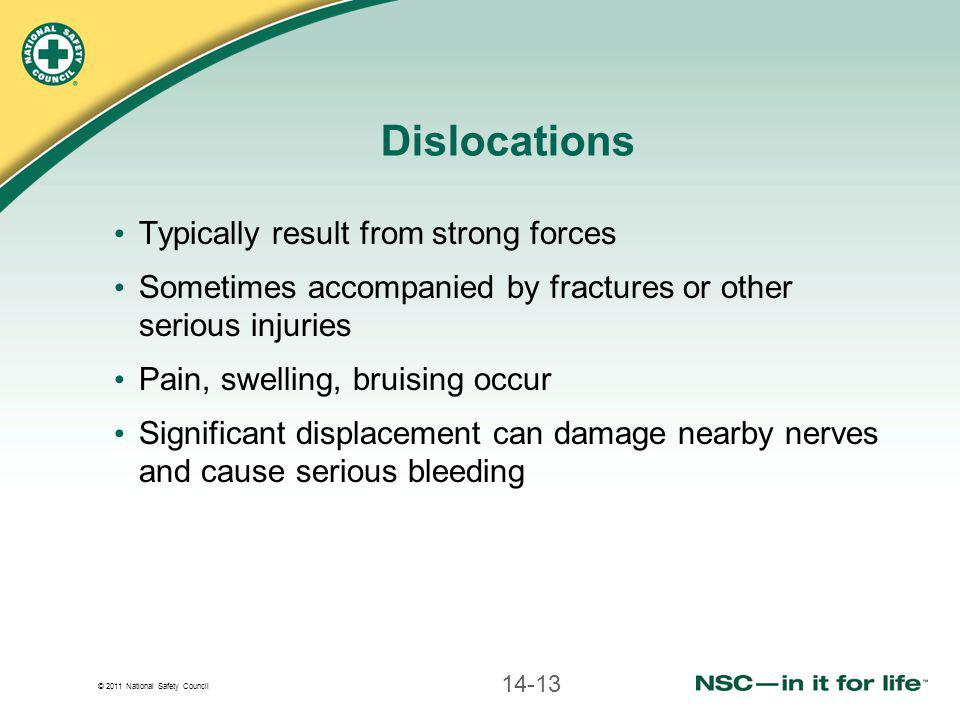 © 2011 National Safety Council Dislocations Typically result from strong forces Sometimes accompanied by fractures or other serious injuries Pain, swelling, bruising occur Significant displacement can damage nearby nerves and cause serious bleeding 14-13