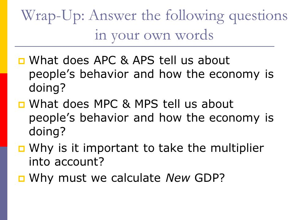 Wrap-Up: Answer the following questions in your own words  What does APC & APS tell us about people's behavior and how the economy is doing.