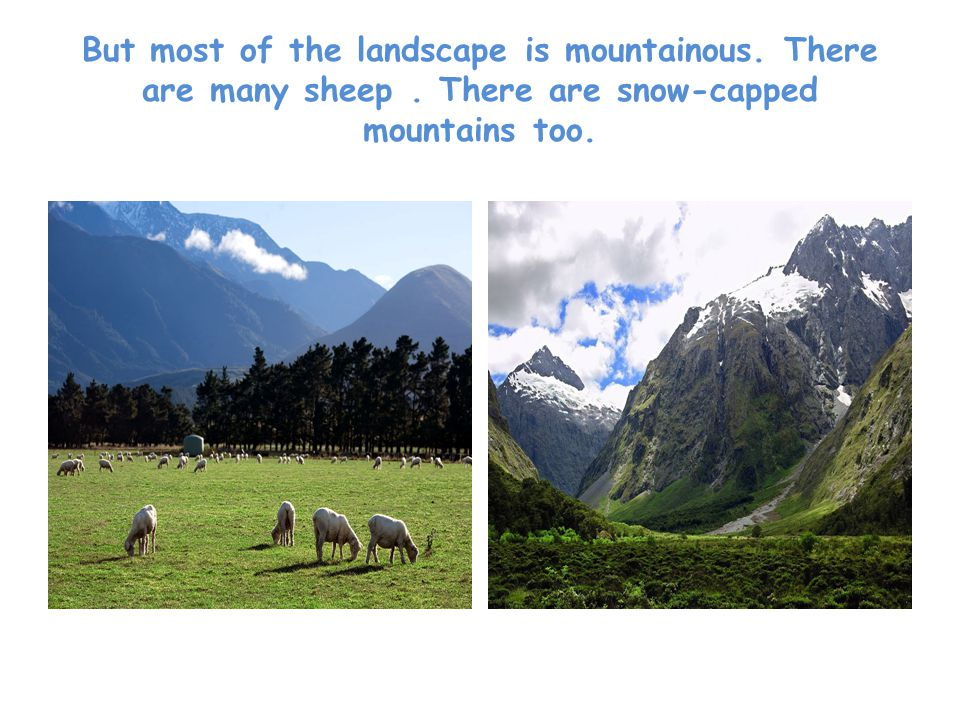 But most of the landscape is mountainous. There are many sheep.