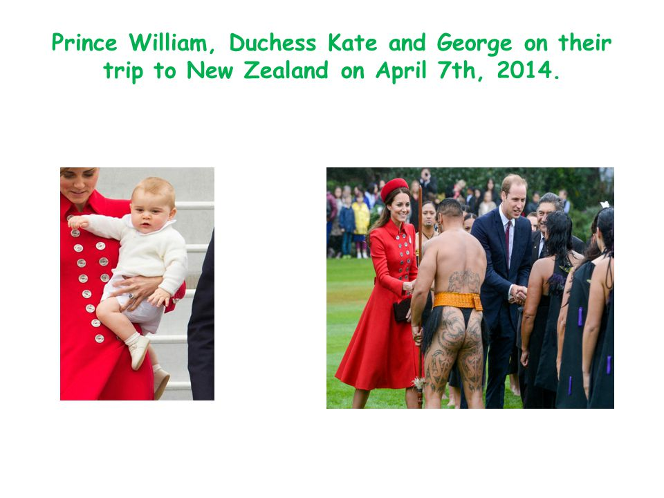 Prince William, Duchess Kate and George on their trip to New Zealand on April 7th, 2014.