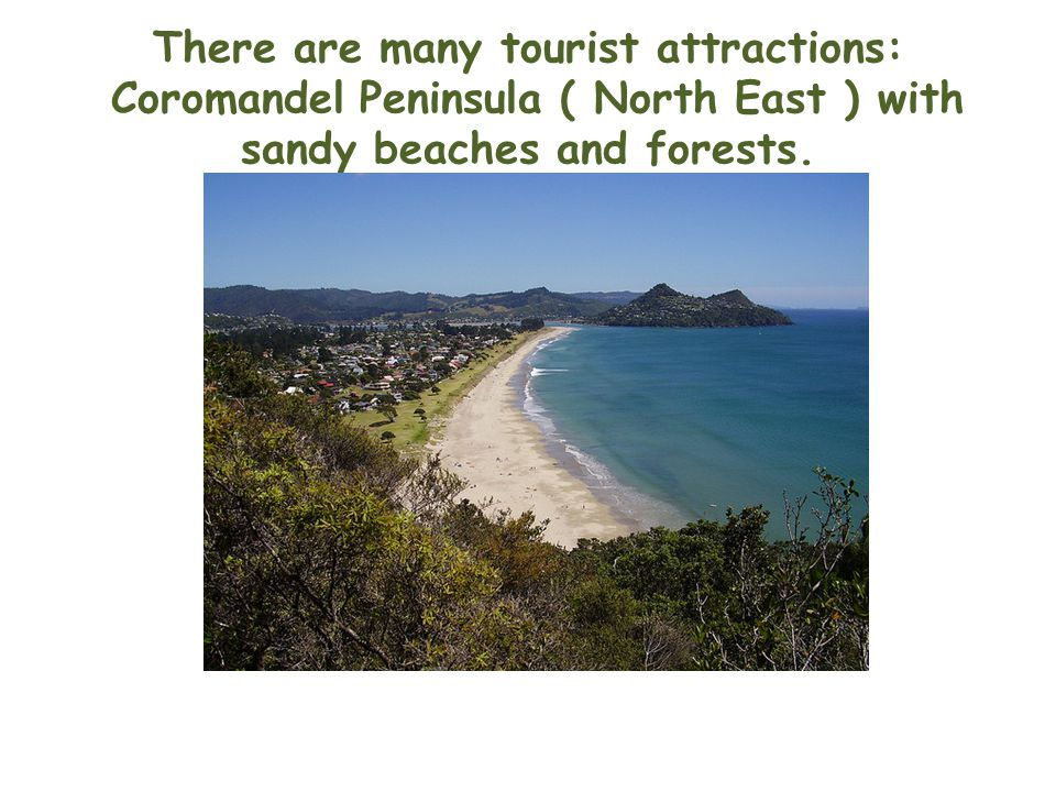 There are many tourist attractions: Coromandel Peninsula ( North East ) with sandy beaches and forests.