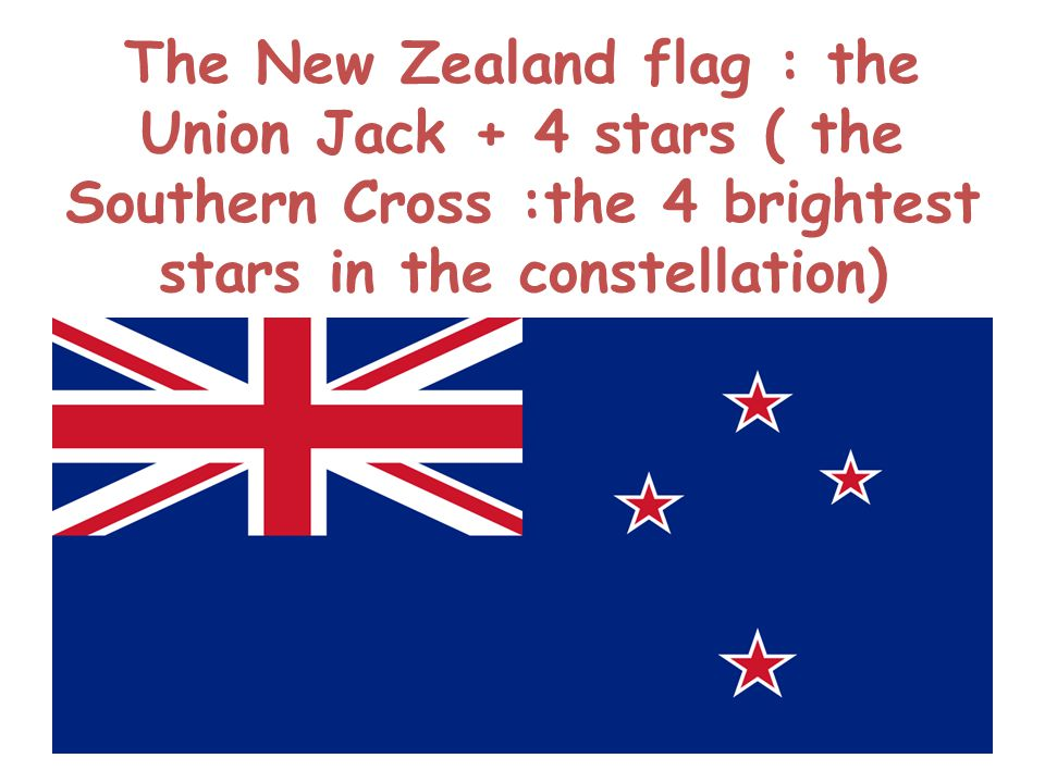 The New Zealand flag : the Union Jack + 4 stars ( the Southern Cross :the 4 brightest stars in the constellation)