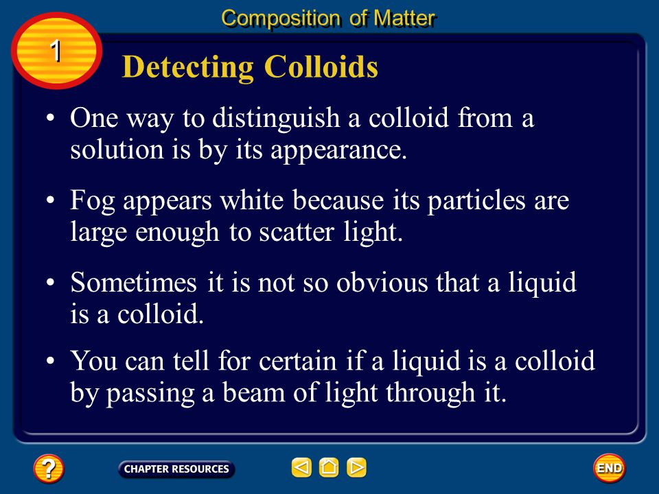 Milk is an example of a specific kind of mixture called a colloid. Colloids Composition of Matter A colloid (KAH loyd) is a type of mixture with parti