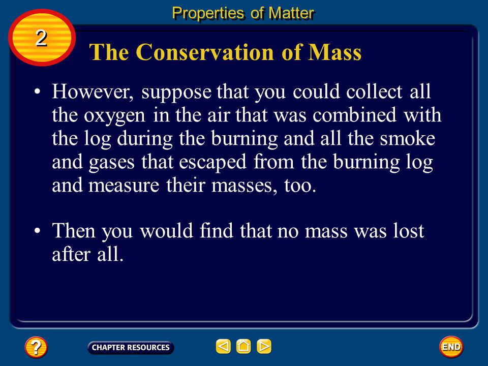 Properties of Matter The Conservation of Mass In fact, the mass of the ashes is less than that of the log. 2 2