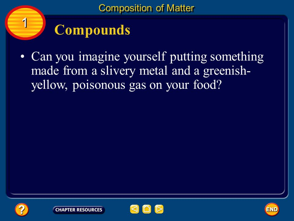 Can you imagine yourself putting something made from a slivery metal and a greenish- yellow, poisonous gas on your food.