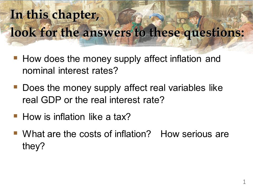 In this chapter, look for the answers to these questions:  How does the money supply affect inflation and nominal interest rates?  Does the money su