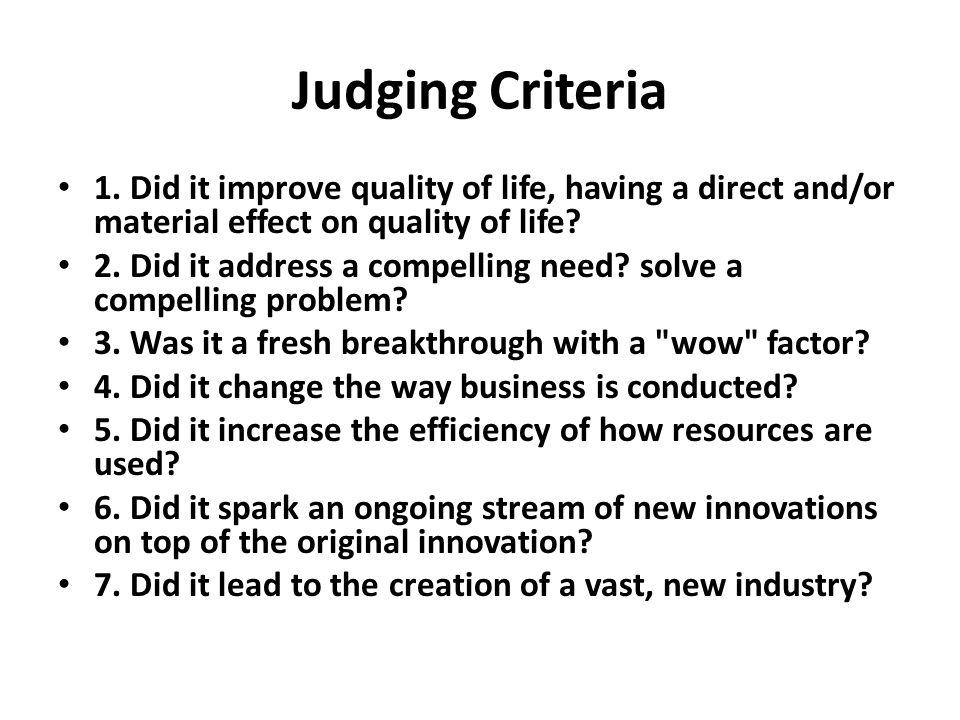 Judging Criteria 1.