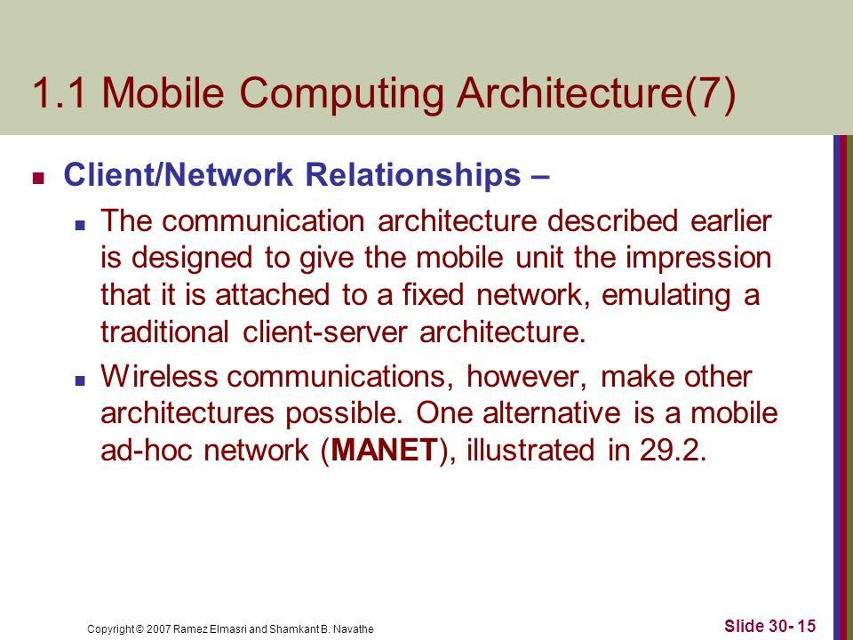 Copyright © 2007 Ramez Elmasri and Shamkant B. Navathe Slide 30- 15 1.1 Mobile Computing Architecture(7) Client/Network Relationships – The communicat
