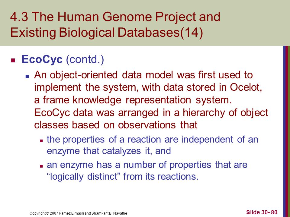 Copyright © 2007 Ramez Elmasri and Shamkant B. Navathe Slide 30- 80 4.3 The Human Genome Project and Existing Biological Databases(14) EcoCyc (contd.)
