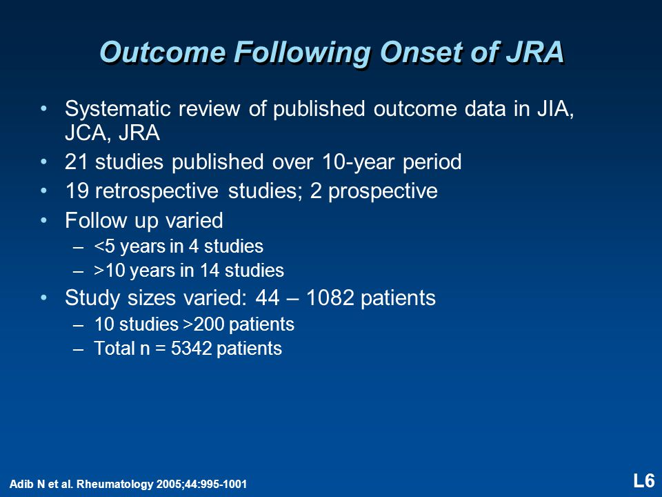 L6 Outcome Following Onset of JRA Systematic review of published outcome data in JIA, JCA, JRA 21 studies published over 10-year period 19 retrospecti