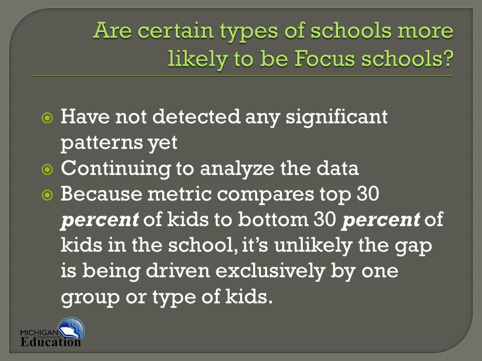  Have not detected any significant patterns yet  Continuing to analyze the data  Because metric compares top 30 percent of kids to bottom 30 percent of kids in the school, it's unlikely the gap is being driven exclusively by one group or type of kids.