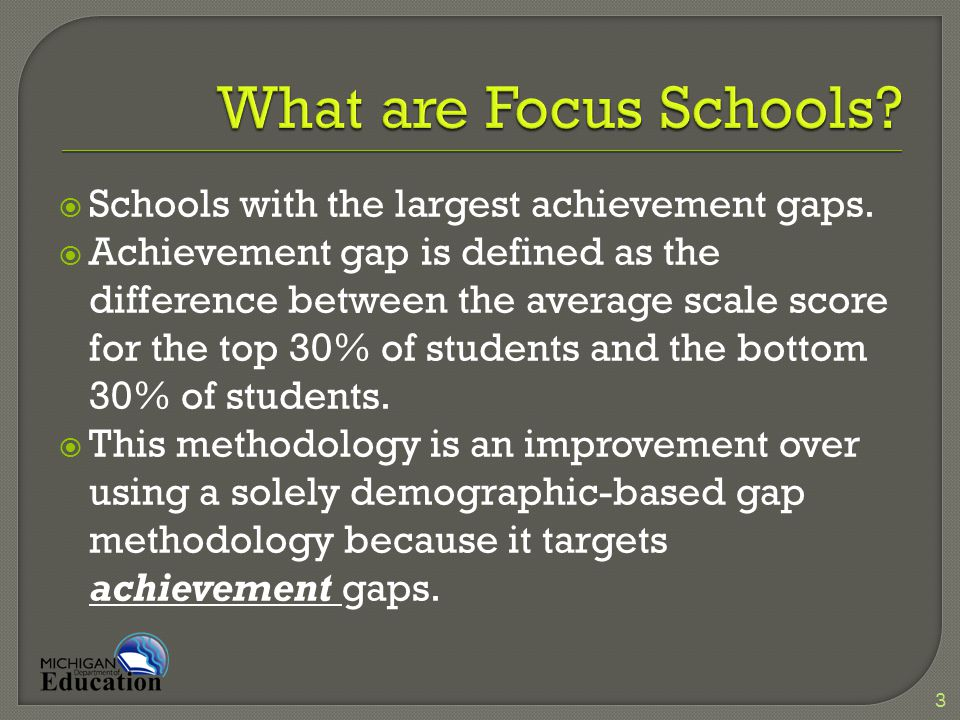  Focus schools are merely one of many methods in the system to identify schools in need of interventions and support.
