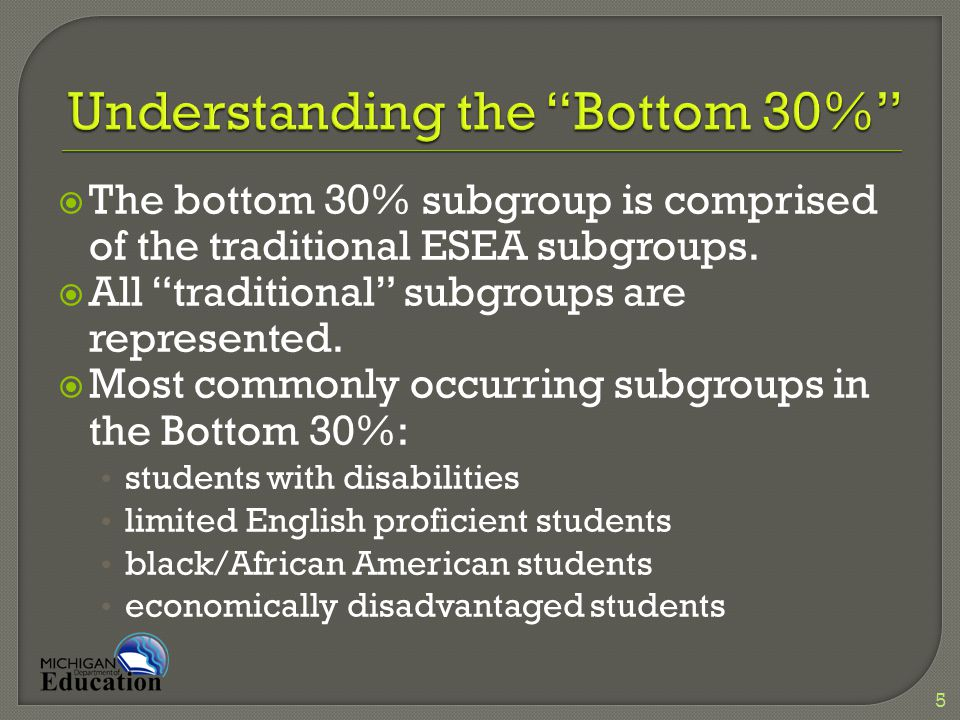  The bottom 30% subgroup is comprised of the traditional ESEA subgroups.