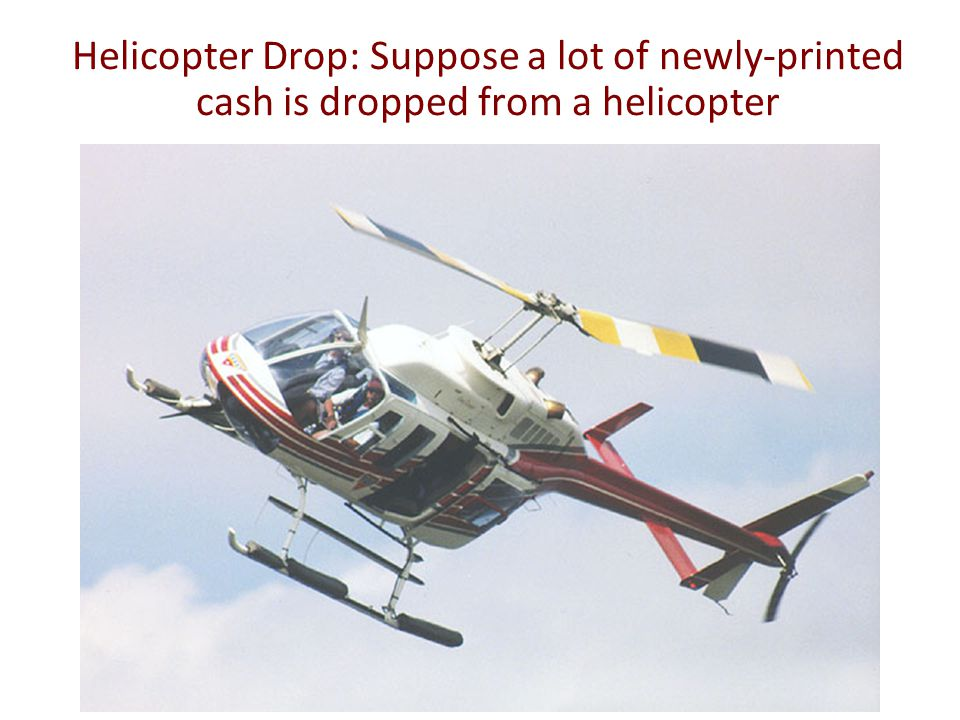 Helicopter Drop: Suppose a lot of newly-printed cash is dropped from a helicopter