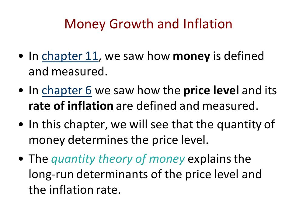 In chapter 11, we saw how money is defined and measured.chapter 11 In chapter 6 we saw how the price level and its rate of inflation are defined and m