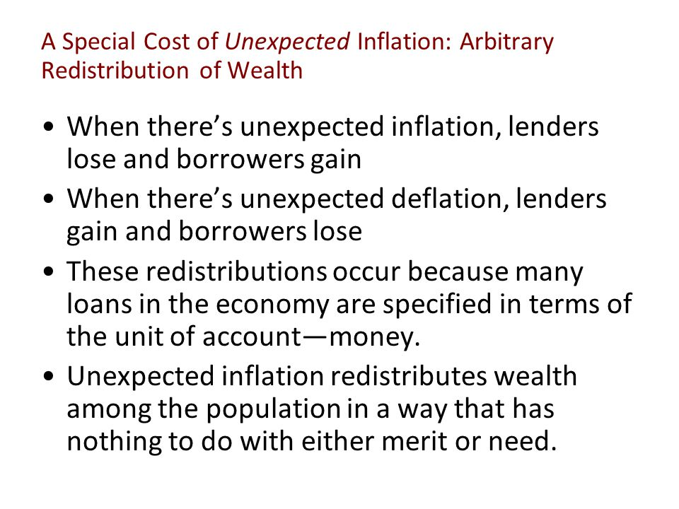 A Special Cost of Unexpected Inflation: Arbitrary Redistribution of Wealth When there's unexpected inflation, lenders lose and borrowers gain When the