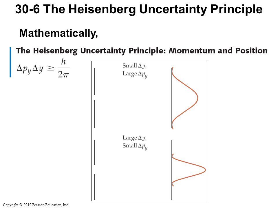 Copyright © 2010 Pearson Education, Inc. 30-6 The Heisenberg Uncertainty Principle Mathematically,