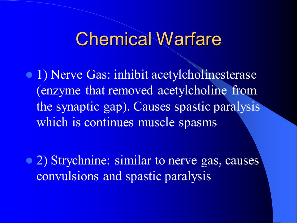 Chemical Warfare 1) Nerve Gas: inhibit acetylcholinesterase (enzyme that removed acetylcholine from the synaptic gap). Causes spastic paralysis which