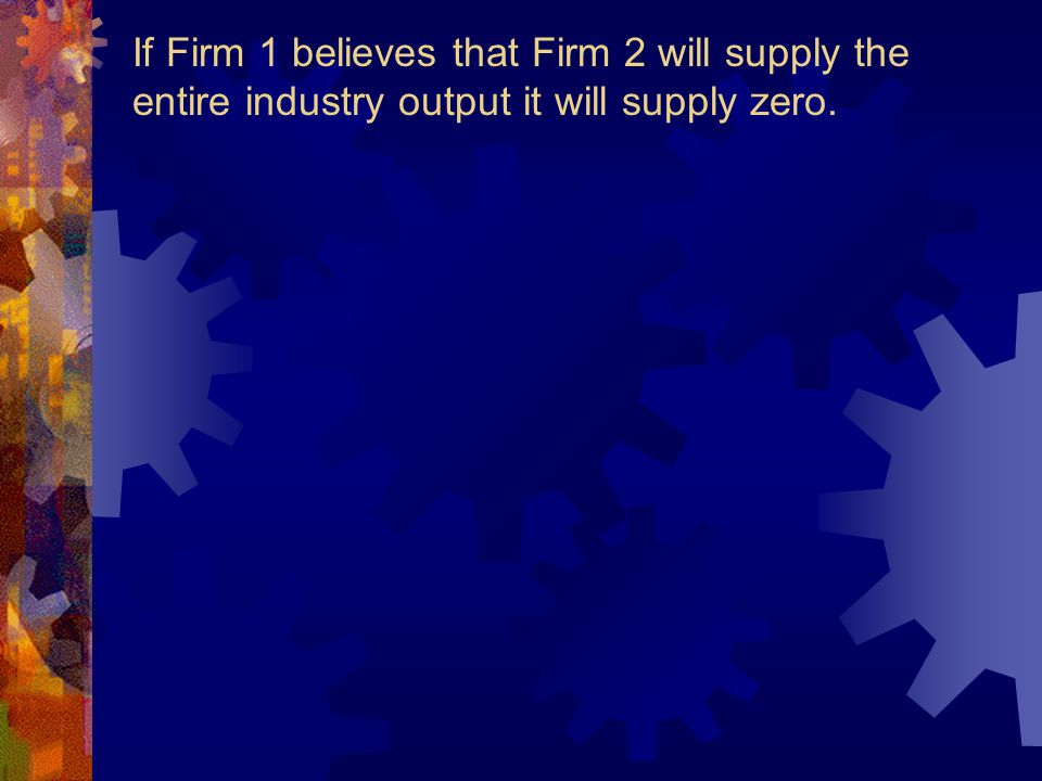 numerical example revisited Assume market demand to be P = 30 - Q where Q= Q1 + Q2 ie industry output constitutes firm 1 and firm 2's output respectively Further, assume Q1 = Q2 and average (AC) and marginal cost (MC) AC = MC= 12