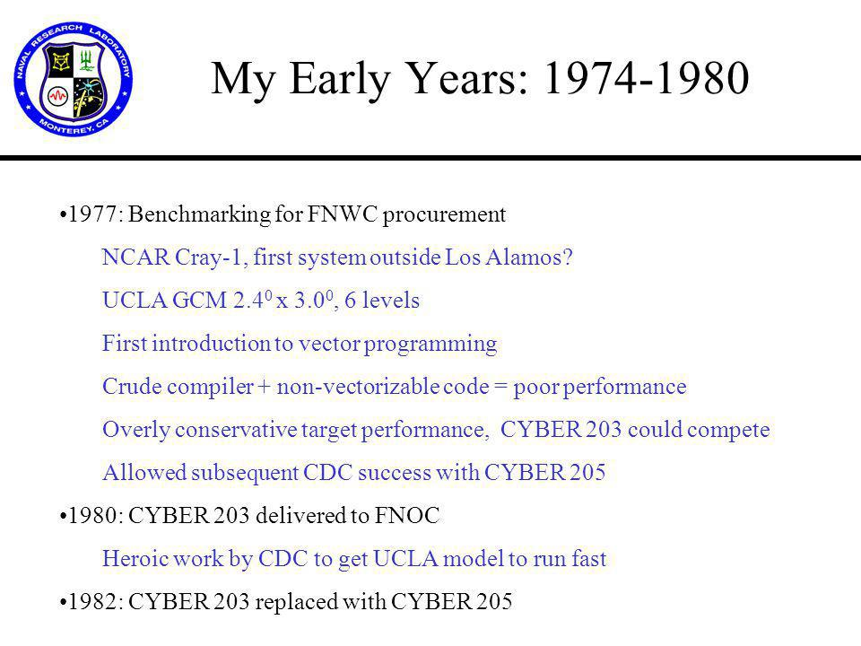 My Early Years: 1974-1980 1977: Benchmarking for FNWC procurement NCAR Cray-1, first system outside Los Alamos.