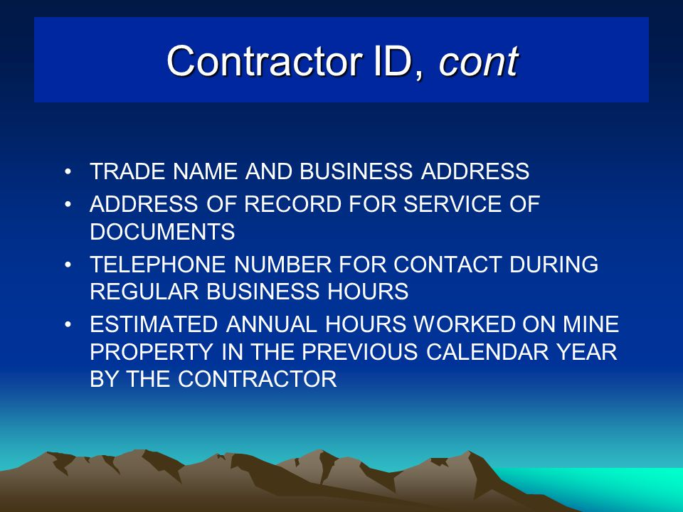 TRADE NAME AND BUSINESS ADDRESS ADDRESS OF RECORD FOR SERVICE OF DOCUMENTS TELEPHONE NUMBER FOR CONTACT DURING REGULAR BUSINESS HOURS ESTIMATED ANNUAL