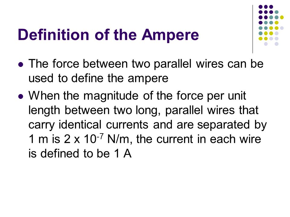 Definition of the Ampere The force between two parallel wires can be used to define the ampere When the magnitude of the force per unit length between
