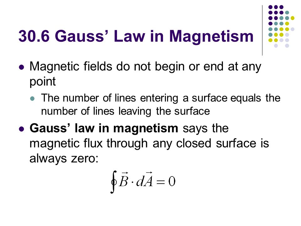 30.6 Gauss' Law in Magnetism Magnetic fields do not begin or end at any point The number of lines entering a surface equals the number of lines leavin