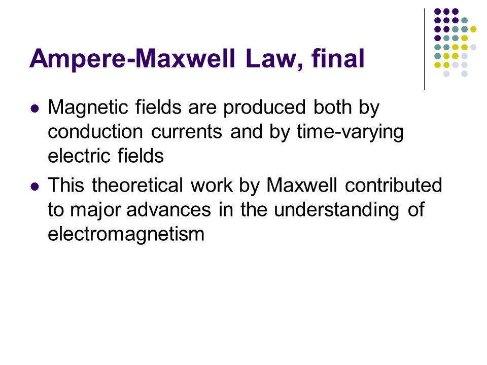 Ampere-Maxwell Law, final Magnetic fields are produced both by conduction currents and by time-varying electric fields This theoretical work by Maxwel