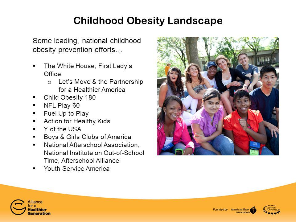 Childhood Obesity Landscape Some leading, national childhood obesity prevention efforts…  The White House, First Lady's Office o Let's Move & the Partnership for a Healthier America  Child Obesity 180  NFL Play 60  Fuel Up to Play  Action for Healthy Kids  Y of the USA  Boys & Girls Clubs of America  National Afterschool Association, National Institute on Out-of-School Time, Afterschool Alliance  Youth Service America