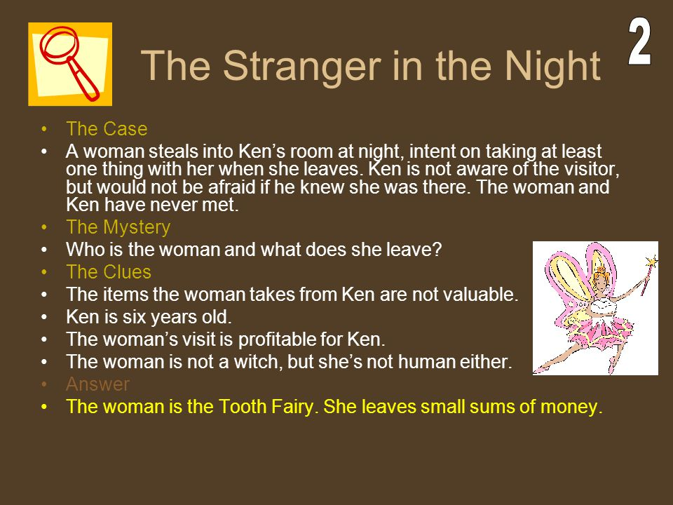 The Stranger in the Night The Case A woman steals into Ken's room at night, intent on taking at least one thing with her when she leaves. Ken is not a