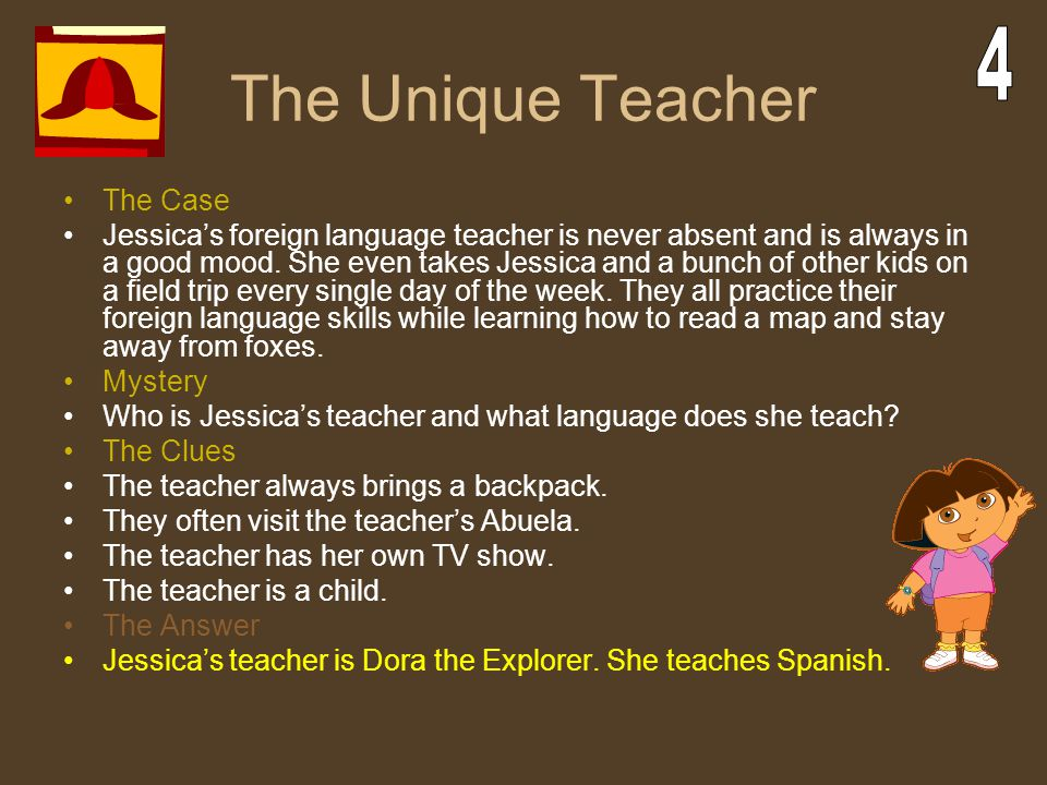 The Unique Teacher The Case Jessica's foreign language teacher is never absent and is always in a good mood. She even takes Jessica and a bunch of oth