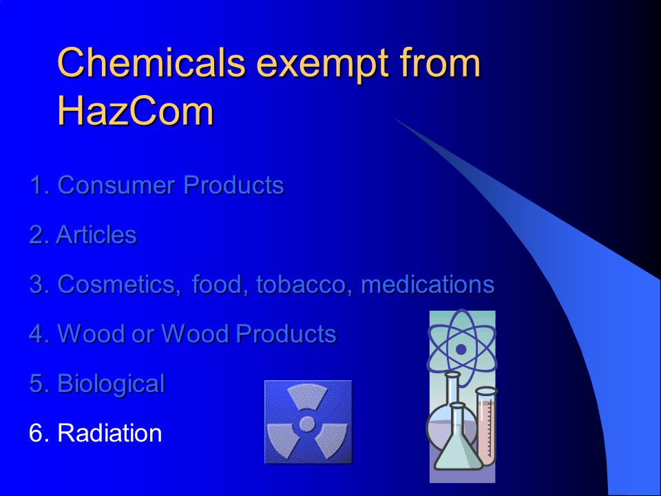 Chemicals exempt from HazCom 1. Consumer Products 2.