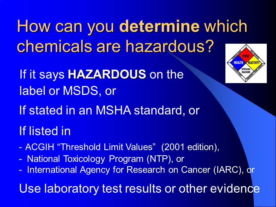 Chemicals exempt from HazCom 1.Consumer Products 2.