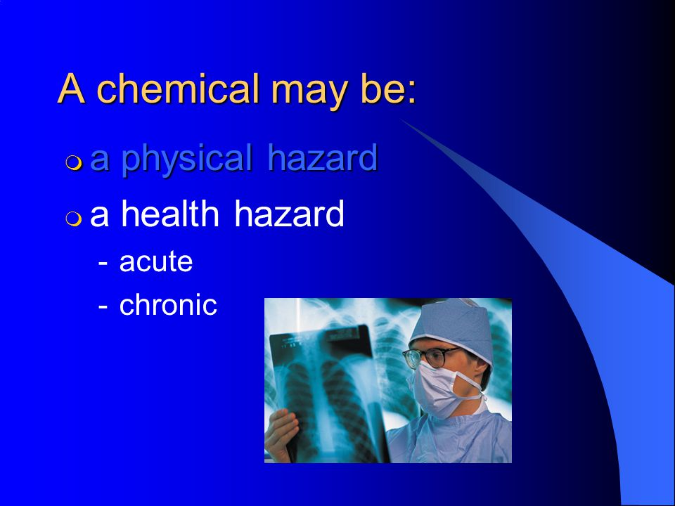 MSDSs must contain: 6. Exposure Limits: –Such as MSHA s, OSHA s, ACGIH s TLV, or NIOSH s REL.