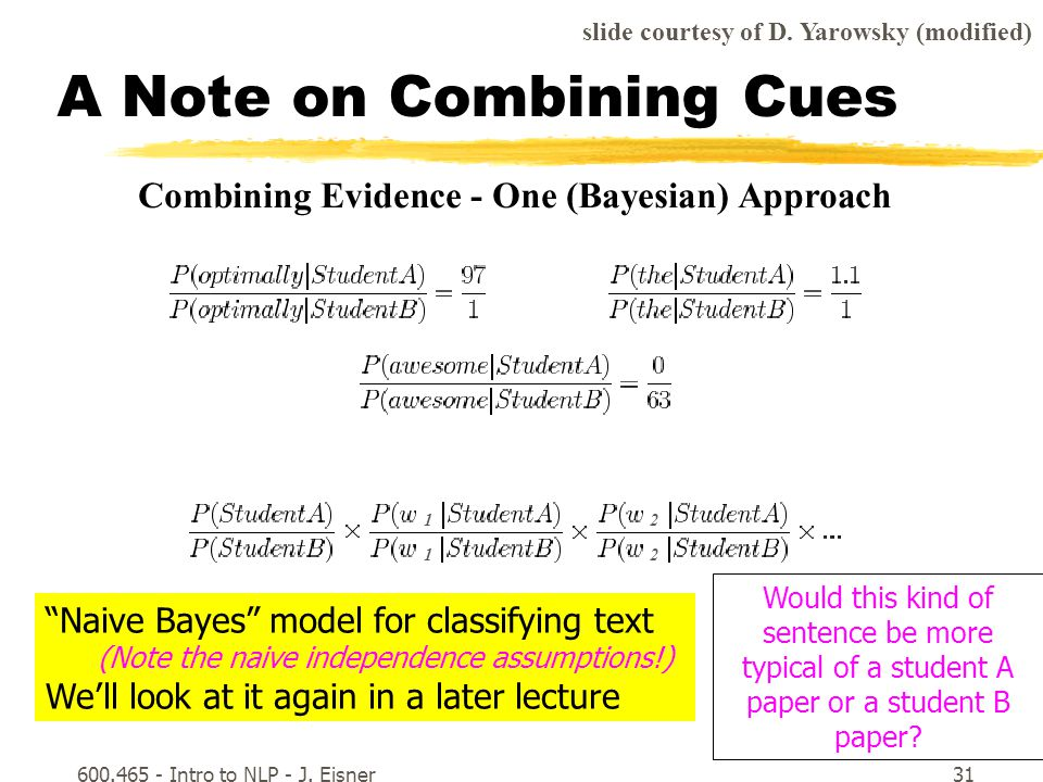 600.465 - Intro to NLP - J. Eisner31 A Note on Combining Cues slide courtesy of D.