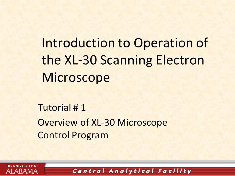 Introduction to Operation of the XL-30 Scanning Electron Microscope Tutorial # 1 Overview of XL-30 Microscope Control Program