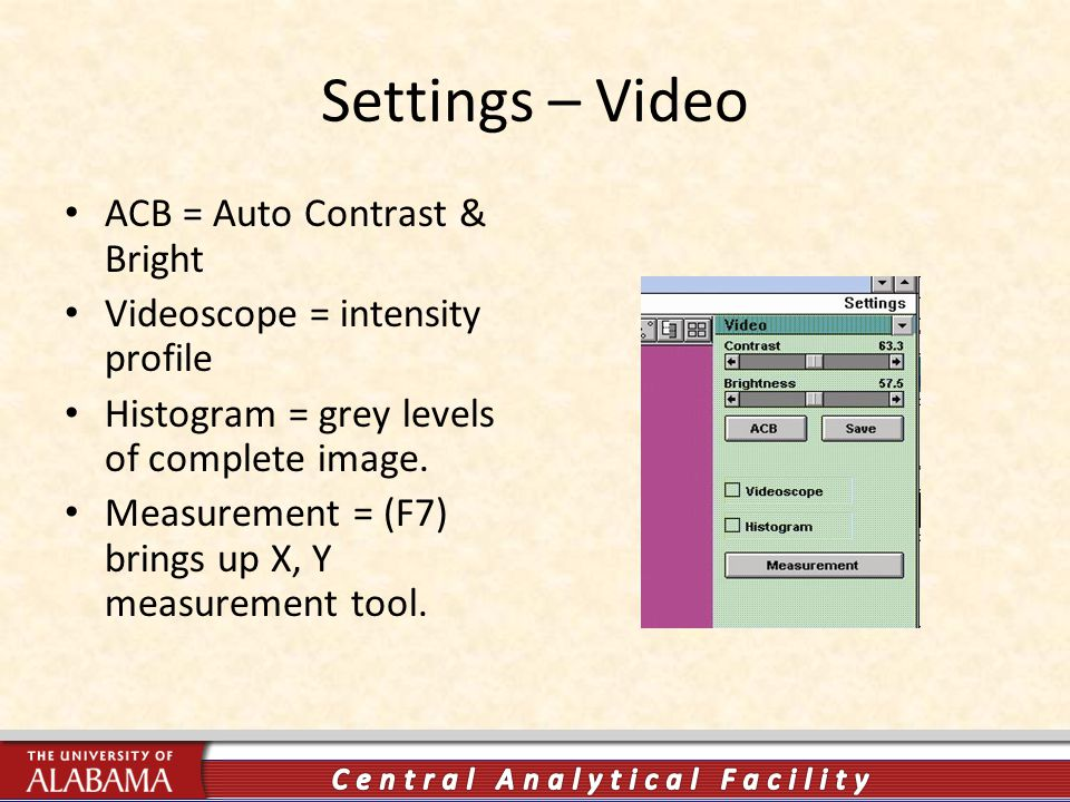 Settings – Video ACB = Auto Contrast & Bright Videoscope = intensity profile Histogram = grey levels of complete image.
