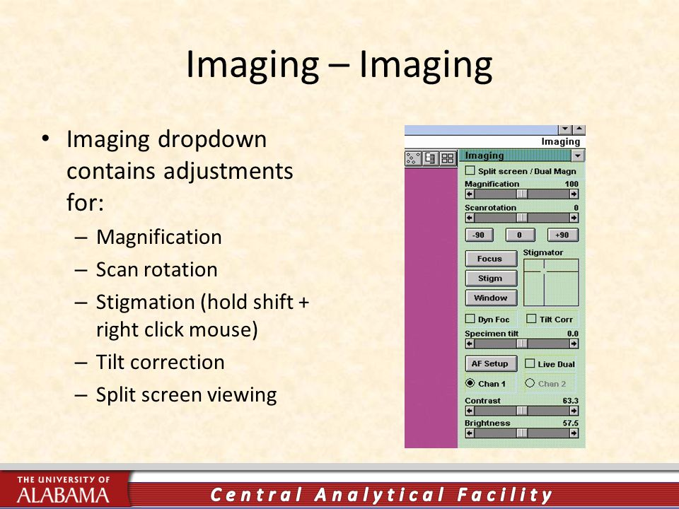 Imaging – Imaging Imaging dropdown contains adjustments for: – Magnification – Scan rotation – Stigmation (hold shift + right click mouse) – Tilt correction – Split screen viewing