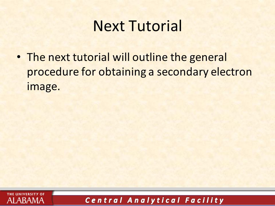 Next Tutorial The next tutorial will outline the general procedure for obtaining a secondary electron image.