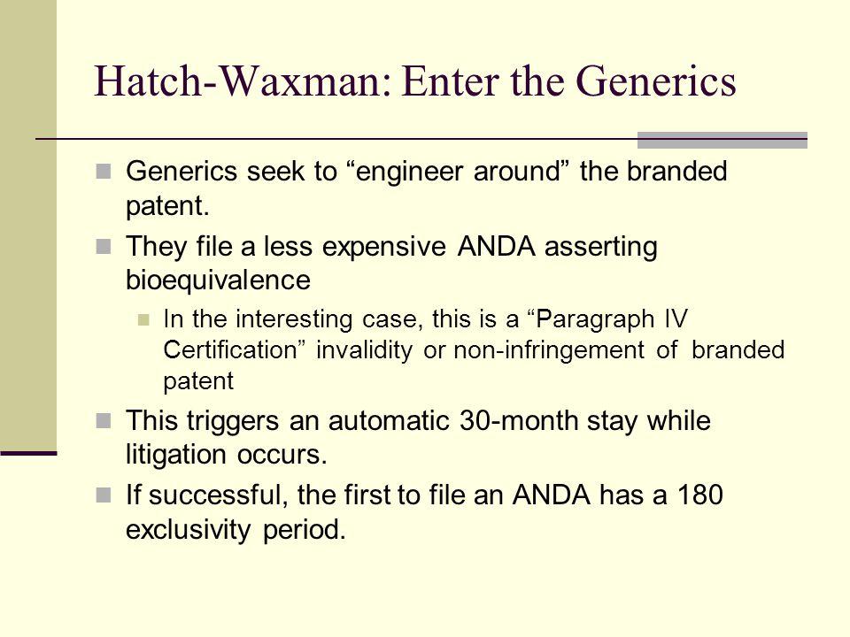 Hatch-Waxman: Enter the Generics Generics seek to engineer around the branded patent.