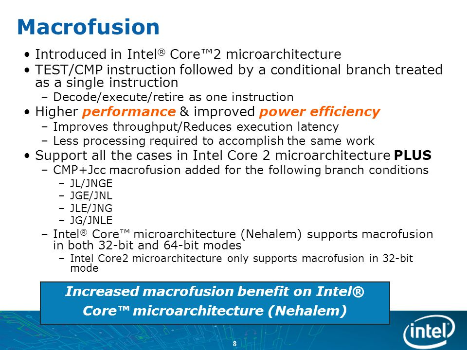 39 Intel ® Core™ Microarchitecture (Nehalem)- based Processor Significant logic outside core –Integrated memory controller –Large shared cache –High speed interconnect –Arbitration logic Core Leakage Core Clock Distribution Core Clocks and Logic Total CPU Power Consumption Uncore Leakage Uncore Clock Distribution I/O Uncore Logic Cores (x N) QPI 1QPI 1 QPI 0QPI 0 Memory Controller Core Shared L3 Cache Misc IOMisc IO Misc IOMisc IO QueueQueue QPI = Intel® QuickPath Interconnect (Intel® QPI)