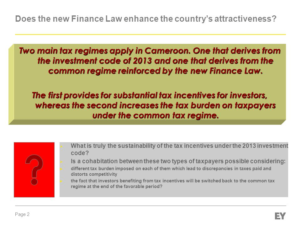 Does the new Finance Law enhance the country's attractiveness Finance Law 2014 By Elias PUNGONG