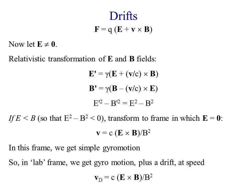 Drifts F = q (E + v  B) Now let E  0.