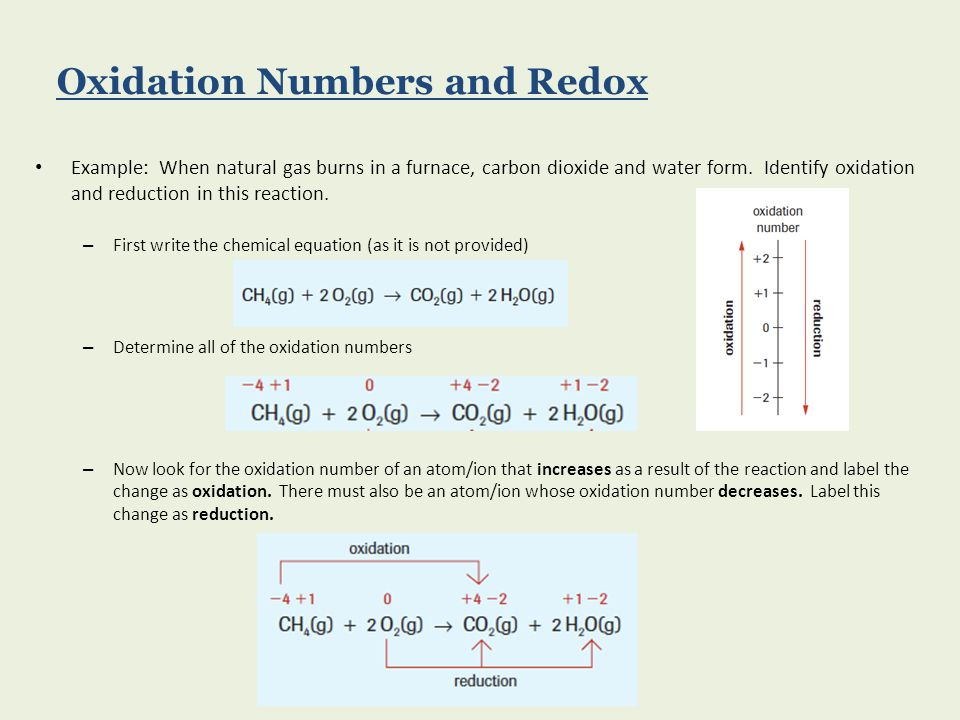 Example: When natural gas burns in a furnace, carbon dioxide and water form. Identify oxidation and reduction in this reaction. – First write the chem