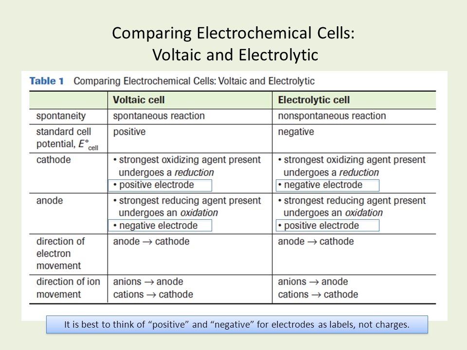 """Comparing Electrochemical Cells: Voltaic and Electrolytic It is best to think of """"positive"""" and """"negative"""" for electrodes as labels, not charges."""