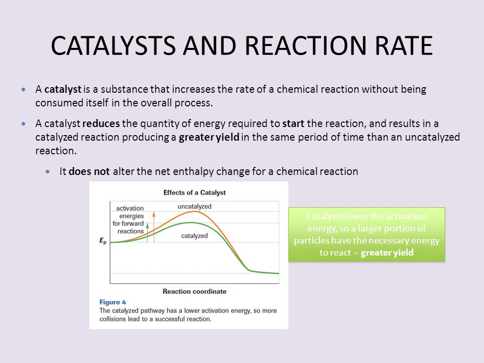 CATALYSTS AND REACTION RATE A catalyst is a substance that increases the rate of a chemical reaction without being consumed itself in the overall proc