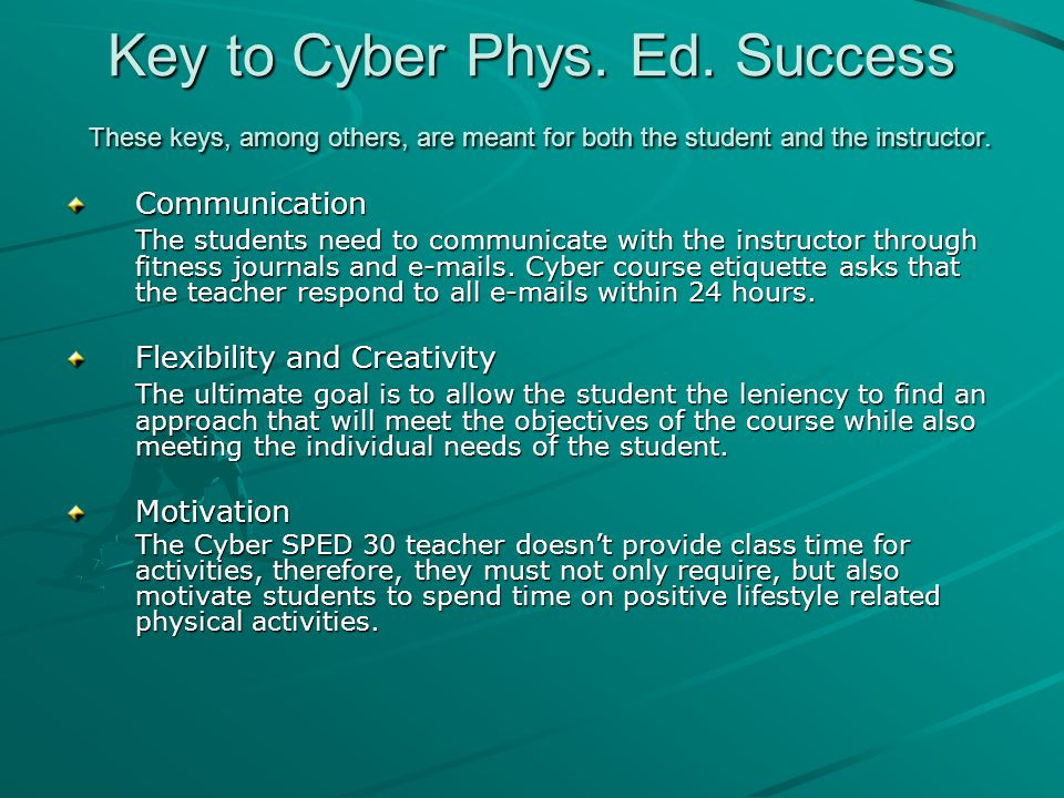 Key to Cyber Phys. Ed.
