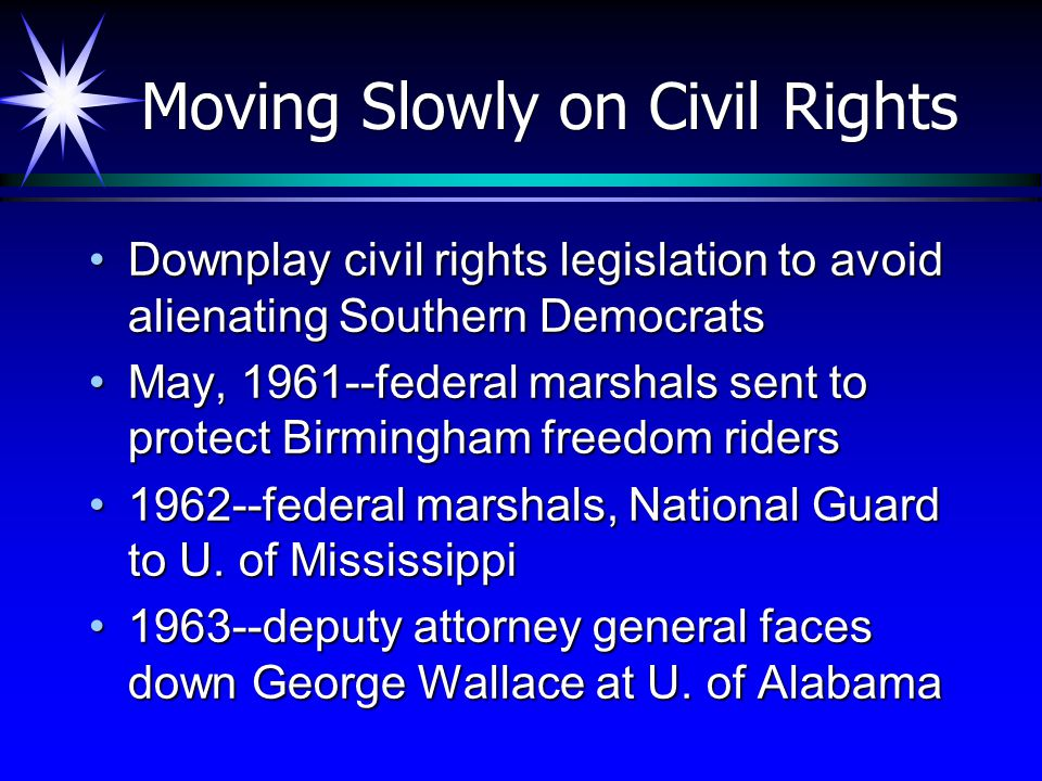 Moving Slowly on Civil Rights Downplay civil rights legislation to avoid alienating Southern DemocratsDownplay civil rights legislation to avoid alien